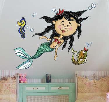 Sticker enfant sirène océan