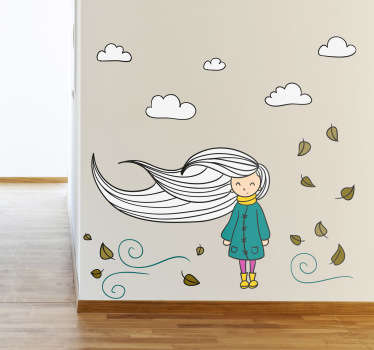 Um vinil decorativo para quarto infantil super bonito, com uma jovem cujo cabelo está soprando na brisa do outono.
