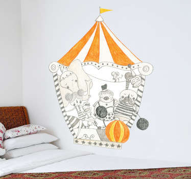 This kids wall sticker of a circus is ideal for environments with children. A fascinating design for the little ones at home.