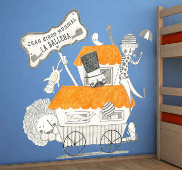 Detallado dibujo en vinilo realizado con lápiz de color por la ilustradora Bonita del Norte de un compañía circense en ruta.