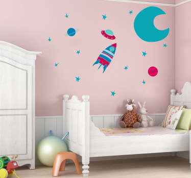 Kids Wall Stickers-Vibrant collection of space themed elements; the moon, stars, planets and spaceships. Available in various sizes.