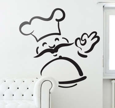 Autocolante decorativo chef sorridente