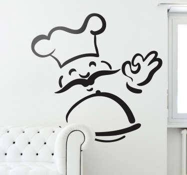Hymyilevä kokki seinä tarra