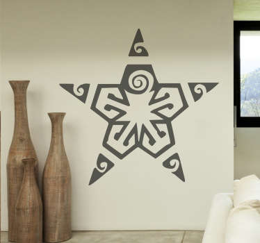 Decorative decal of a Celtic star with an interesting design in each corner of the star. Design from our collection of star wall stickers.
