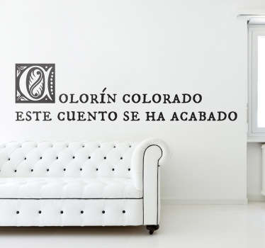 Adhesivo infantil colorín colorado