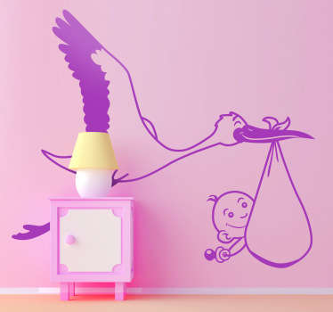 Kids Wall Stickers - Illustration of a stork bird carrying a small adorable baby.