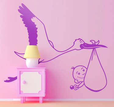 Kids Baby Stork Carrier Wall Sticker