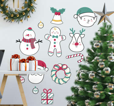 A fantastic Christmas wall sticker illustrating various characters including Santa Claus, Rudolph and a snowman.