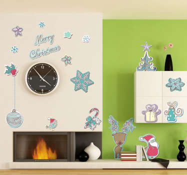 Decorative sticker with a collection of festive objects to customize your home during the Christmas season.
