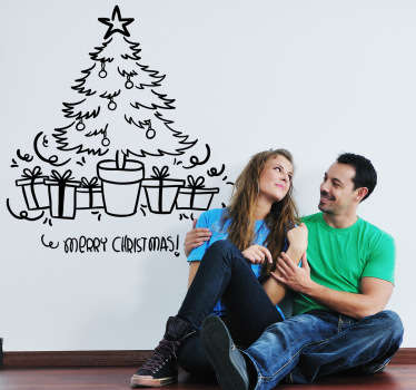 Muursticker kerstboom tekst Merry Christmas
