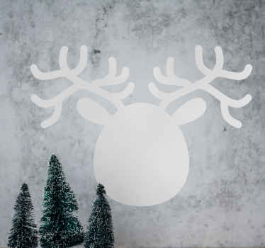 Blackboard Stickers- Silhouette illustration of a the head of a reindeer. Get in the festive spirit with this Christmas sticker