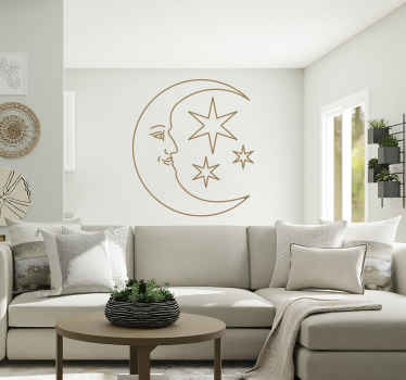 Adesivo murale viso luna
