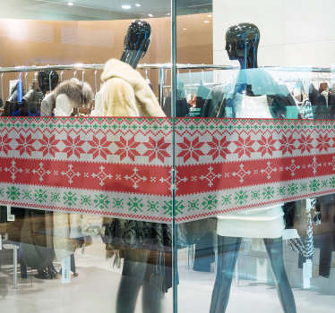 Design your front shop window in Christmas with this beautiful sticker representing a subtle border of different christmas designs.