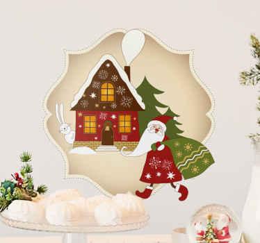 Ben je nog steeds op zoek naar de perfecte kerstmis sticker? Je ziet de kerstman met zijn zak vol cadeaus richting een warm kersthuisje.