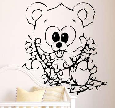 Sticker enfant ours guirlande Noël