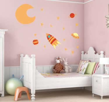 Sticker enfant espace couleurs chaudes