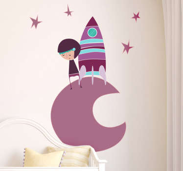A vibrant illustration of a small space explorer on the moon surrounded by stars from our collection of purple wall stickers.