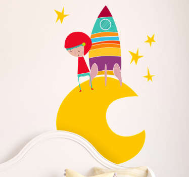 Kids Wall Stickers - Vibrant illustration of a small space explorer on the moon surrounded by stars.