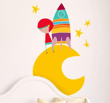 Naklejka dziecięca kosmonauta żółty księżyc