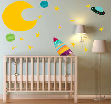Kids Wall Stickers - Vibrant collection of space themed elements; the moon, stars, planets and spaceships. Colourful tones ideal for decorating kids rooms. Perfect space decal for providing a happy and exciting atmosphere in your child's bedroom or nursery.