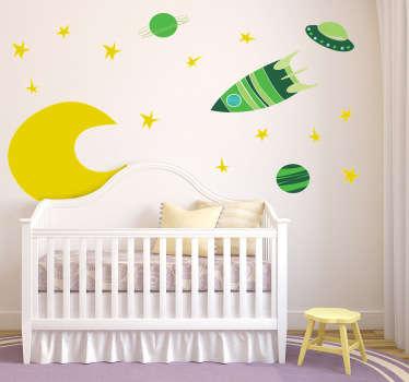 Sticker infantil espacial tonos verdes