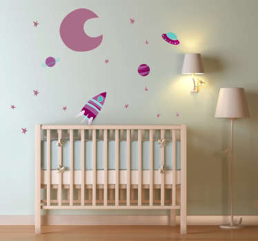 A vibrant collection of space themed elements; the moon, stars, planets and spaceships. Space decal from our collection of purple wall stickers.