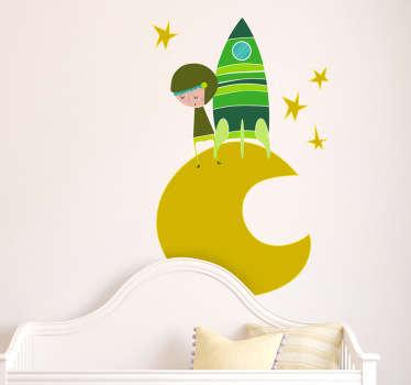 Sticker bambini astronauta luna tono verde