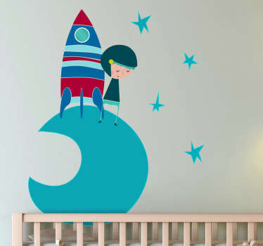 Vinilo infantil cosmonauta luna tono azul