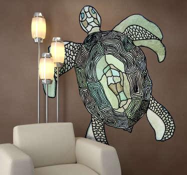 Wall sticker che raffigura una tartaruga marina. disegno realizzato dall'artista Valentina di Blase.
