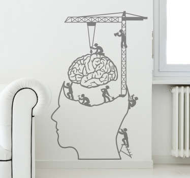 This funny wall sticker shows a few workers working on the human brain! This monochrome brain decal can be personalised. Purchase a personalised sticker and choose the colour and size you like the most .