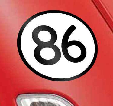 Naklejka na samochód z numerem