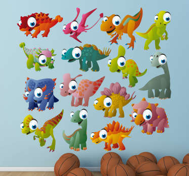 Kids Wall Stickers-Fun and playful selection of colourful dinosaurs and reptiles. Made from high quality vinyl.