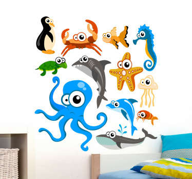 A collection of ocean creatures from our unique and original collection of under the seal wall stickers to decorate your home