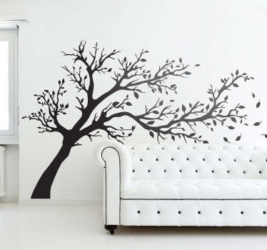 Wall Stickers - Silhouette design of a tree being blown by strong winds. A distinctive feature to decorate any room. Extremely long-lasting material.