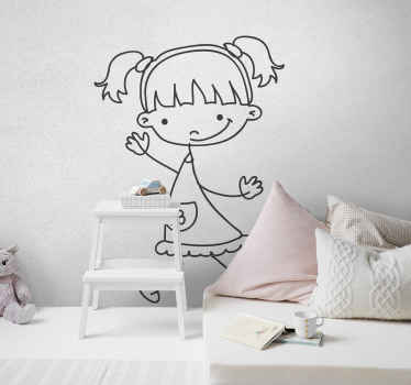 Little Girl Sketch Decal