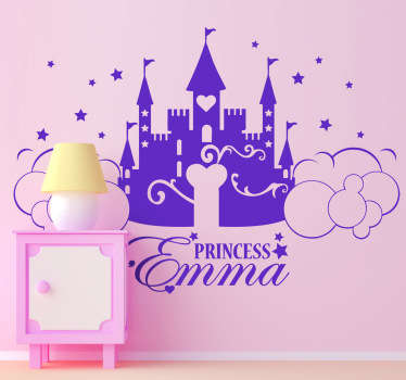 Kids Wall Stickers - Personalised design of a princess castle. Select a colour and size. Customise with over 50 colours!