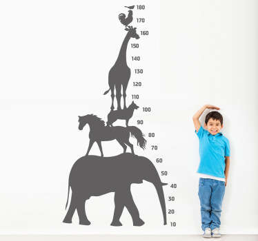 A height chart sticker illustrating a tower made of animals such as an elephants and a giraffe. Decorate your walls and check your child's height!