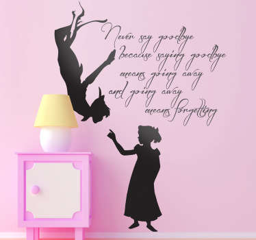 A Peter Pan quote decal from our collection of Peter Pan wall stickers to decorate the bedroom or play area of the little ones.