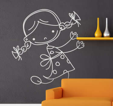 Kids Wall Stickers - Playful cute sketch of a little girl dancing and looking happy, perfect for decorating your child's bedroom, play area or nursery. This illustration design is available in various colours and sizes and is sure to bring a smile to the little one's face.