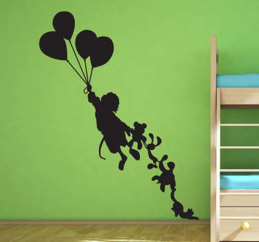 A fun and interesting decorative sticker for your children's room. Fabulous decal of a girl being dragged into the air by the balloons.