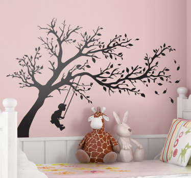 Kids Wall Stickers - Silhouette outline illustration of a young boy on a tree swing. Decals made from high quality vinyl, easy to apply and remove.