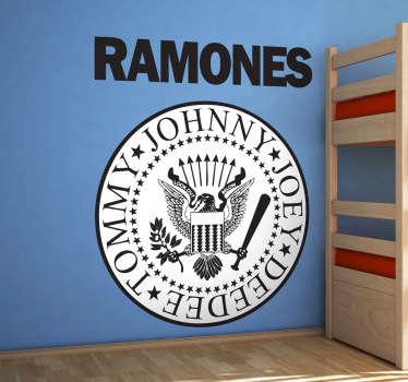 Pour les fans de Ramones, l'emblème du groupe de musique punk nord-américain sur sticker.