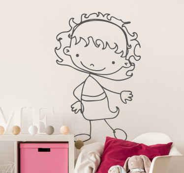 Little Girl Outline Kids Sticker