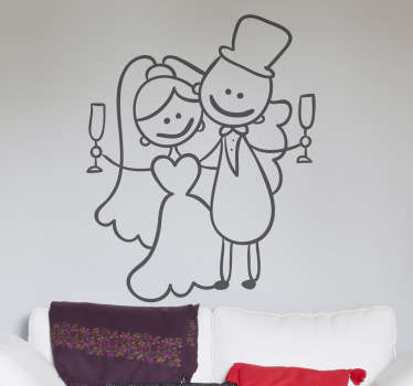 Wedding stickers - Decorative design of a newly-wed couple proposing a toast. Select up to 50 colours and various sizes.