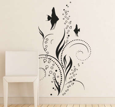 An elegant aquatic theme design including fish and bubbles. A stylish decal from our collection of sea wall stickers.