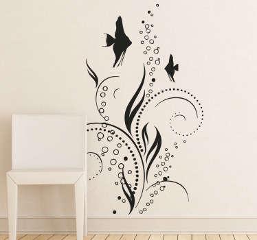 Stencil muro decorazione pesci