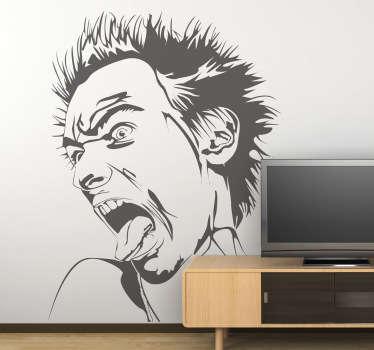 Stencil muro ritratto Johnny Rotten
