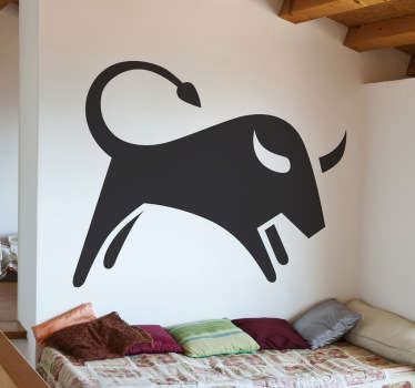 Wall sticker decorativo che raffigura la silhouette di un toro. Adesivo ideale per decorare la tua camera da letto.