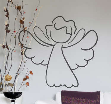 This angel wall art sticker illustrates a simple and innocent angel. With its wide wings and open arms, this angel decal creates a peaceful and cozy atmosphere.