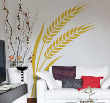 Monochrome Wall Stickers - Silhouette wall decal design of wheat. Suitable for the home and businesses. Available in various sizes and in 50 colours. Bring a touch of nature to the empty walls of your home  with this plant wall sticker.